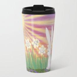 white rabbit in the daffodils Travel Mug