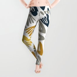 Papier Découpé Modern Abstract Cutout Pattern in Light and Dark Mustard, Navy Blue, Gray, and White  Leggings