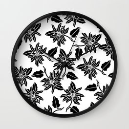 Black white modern vector poinsettia floral pattern Wall Clock
