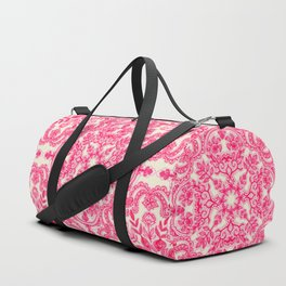Hot Pink & Soft Cream Folk Art Pattern Duffle Bag