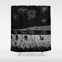 fireworks Shower Curtains featuring Fireworks by Mr.Willow