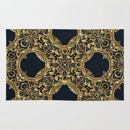 Black Gold Rococo Pattern Rug