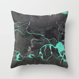 Grey and Blue Marble Throw Pillow