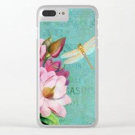 Verdigris Pink Magnolias Clear iPhone Case