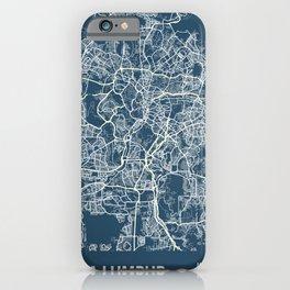 Kuala Lumpur Blueprint Street Map, Kuala Lumpur Colour Map Prints iPhone Case