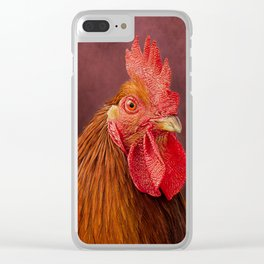 Red Rooster Portrait Clear iPhone Case