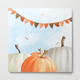 Breezy Day At The Pumpkin Patch Metal Print
