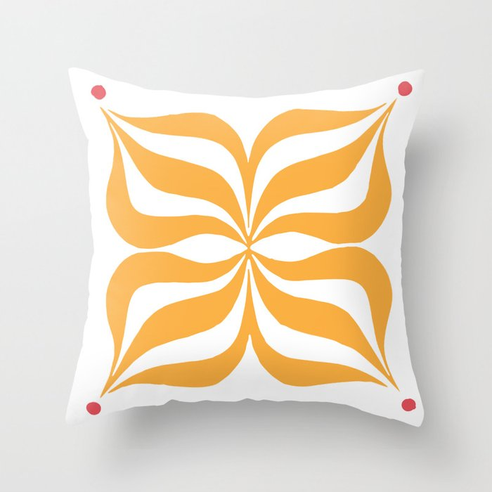 Modern Orange Graphic Throw Pillow