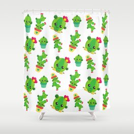 Cactus Pattern, Cute Cactuses, Smiling Cactuses Shower Curtain