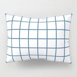 Minimalism Window Pane Grid, Blue on White Pillow Sham