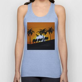 Camel silhouettes at sunset Unisex Tank Top