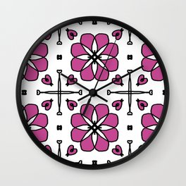 Flowers and Hearts Wall Clock