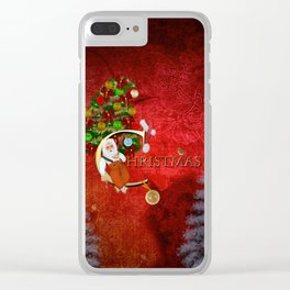 Christmas, Santa Claus with christmas tree Clear iPhone Case