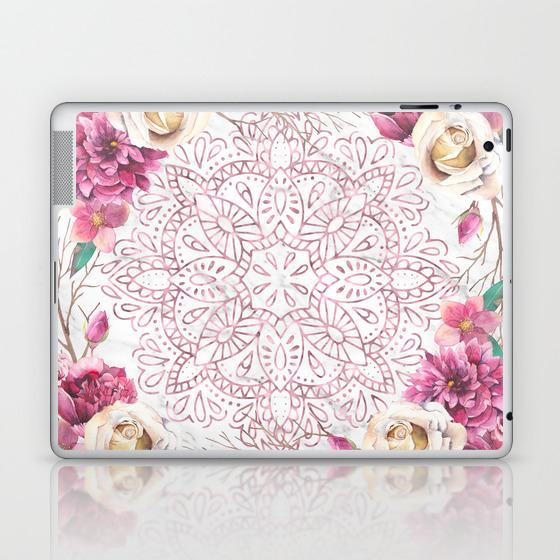 Rose Gold Mandala Garden On Marble Laptop Ipad Skin By