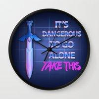 sword Wall Clocks featuring Retro Sword by DonCorgi