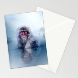 Macaque (Low Poly Ice Snow Monkey) Stationery Cards