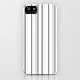 Mattress Ticking Wide Striped Pattern in Charcoal Grey and White iPhone Case