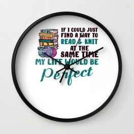 Book Lover Knitting Book Reading Arts and Crafts Wall Clock