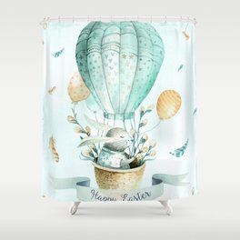 Cute Easter Bunny Hot Balloon Shower Curtain