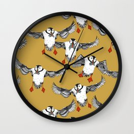 Atlantic Puffins gold Wall Clock