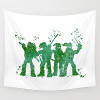 ninja turtles Wall Tapestries featuring Teenage Mutant Ninja Turtles by Carma Zoe