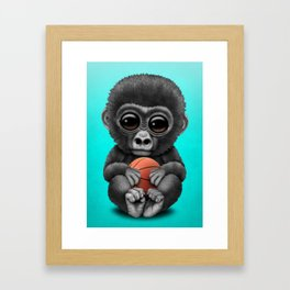 Cute Baby Gorilla Playing With Basketball Framed Art Print
