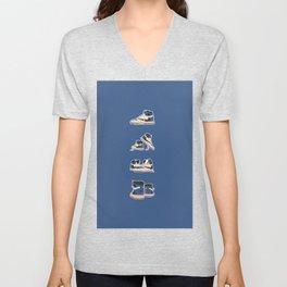fragment x travis x air jordan 4 pairs sneaker poster  Unisex V-Neck