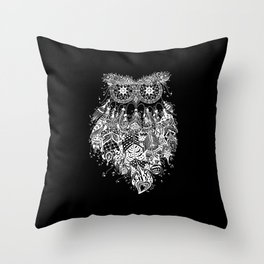 Dream Catcher on Black Throw Pillow