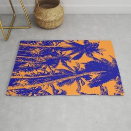 Palm Trees Design in Blue and Orange Rug