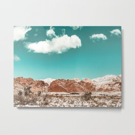 Vintage Red Rocks // Snow in the Mojave Desert Clouds Teal Sky Mountain Range Landscape Metal Print