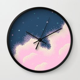 Pixel Cotton Candy Galaxy Wall Clock