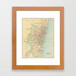 Vintage Map of Madras India (1909) Framed Art Print
