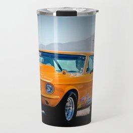 Orange Race Car Travel Mug