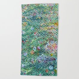 colorful flower filed Beach Towel