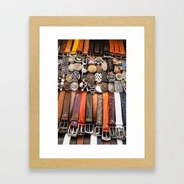 Italian leather belts, Florence market Framed Art Print