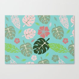 Tropical leaves Aqua paradise #homedecor #apparel #tropical Canvas Print