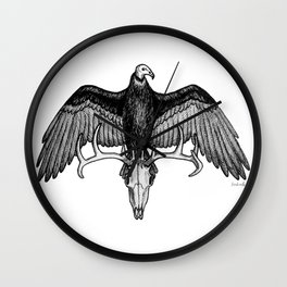 The Omen - Eerie Turkey Vulture on Stag Skull Bird Ink Illustration Wall Clock