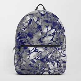 Grunge Art Silver Floral Abstract G169 Backpack