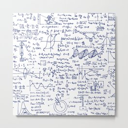 Physics Equations in Blue Pen Metal Print
