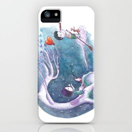 Girl with Penguin Watch as Boy Leaves With Her Heart Balloon iPhone Case
