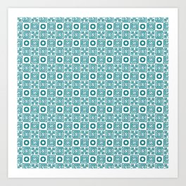 Lines and shapes - Dark Teal Art Print