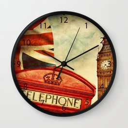 Red telephone booth and Big Ben in London, England Wall Clock