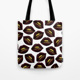 Red Black Lips and Faux Sparkly Gold Grill Teeth Tote Bag