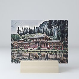 Temple by the Lake Mini Art Print