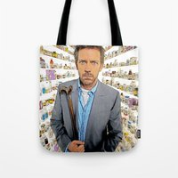 house md Tote Bags featuring House MD - Colored Pencil Sketch Style by ElvisTR