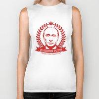 putin Biker Tanks featuring Vladimir Putin by MartiniWithATwist