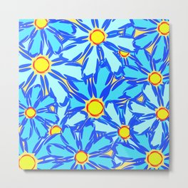 Abstract daisies. Background of blue and white flowers. Metal Print