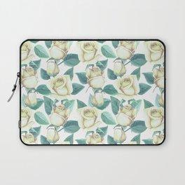 Elegant ivory white yellow green botanical roses floral Laptop Sleeve