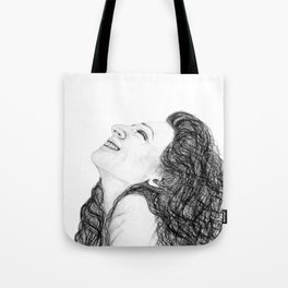 Tell Me Something Good in B/W - Expressions of Happiness Series - Black and White Original Drawing Tote Bag
