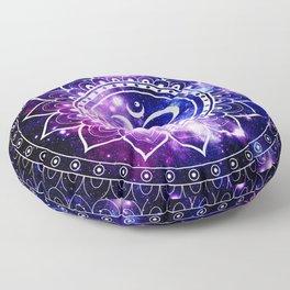 om mandala: purple blue space Floor Pillow